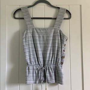 Lucky Brand Striped Tank Top w/ Side Buttons